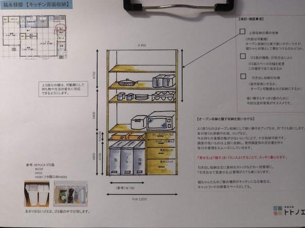 上長飯町のペット共生住宅「チャオ」と収納提案のスケッチ